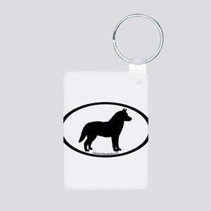Siberian Husky Dog Oval Aluminum Photo Keychain