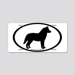 Siberian Husky Dog Oval Aluminum License Plate