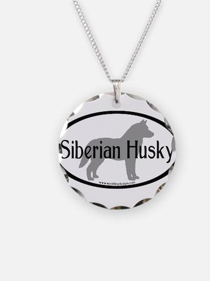 Siberian Husky Oval Necklace