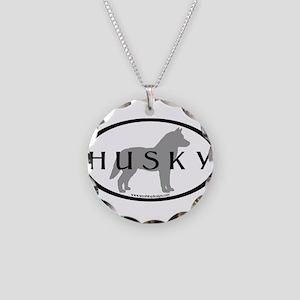 Husky Dog Oval Necklace Circle Charm