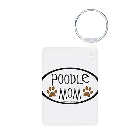 Poodle Mom Oval Aluminum Photo Keychain