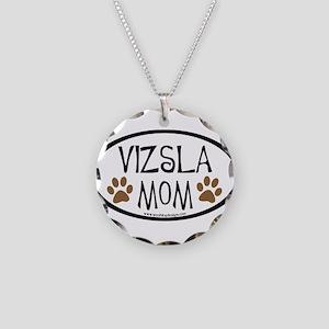 Vizsla Mom Oval Necklace Circle Charm