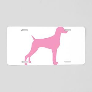 Pink Weimaraner Aluminum License Plate