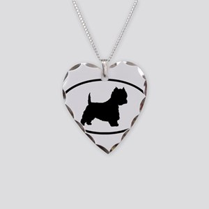West Highland Terrier Oval Necklace Heart Charm