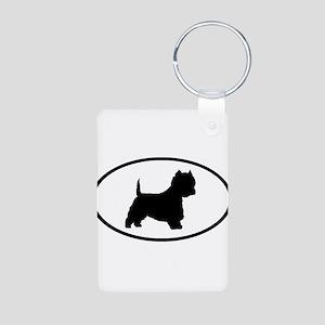 West Highland Terrier Oval Aluminum Photo Keychain