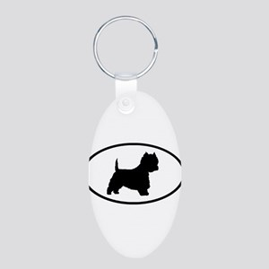 West Highland Terrier Oval Aluminum Oval Keychain