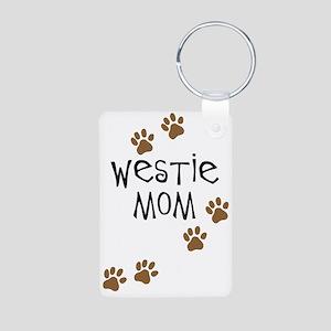 Westie Mom Aluminum Photo Keychain