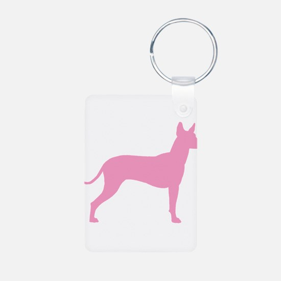 Xolo Dog Pink Profile Aluminum Photo Keychain