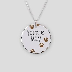 Yorkie Mom Necklace Circle Charm