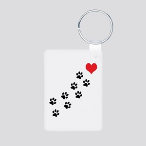 Paw Prints To My Heart Aluminum Photo Keychain