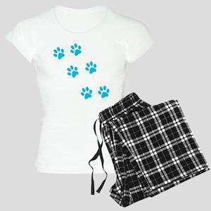 Blue Walk-On-Me Pawprints Women's Light Pajamas