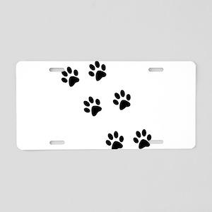 Walk-On-Me Pawprints Aluminum License Plate