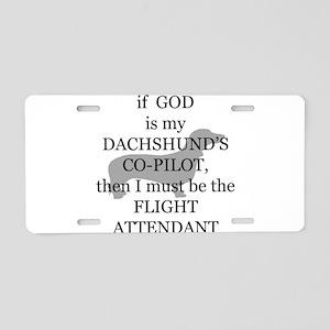 dachshund attendant Aluminum License Plate