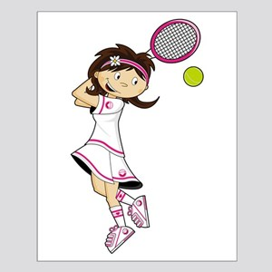 Cute Little Tennis Girl Small Poster