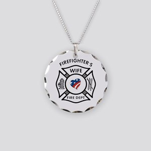 Fire Fighter Wife Necklace Circle Charm