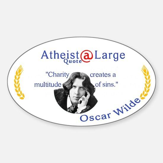 Oscar wilde Quote Charity Sins Sticker (Oval)