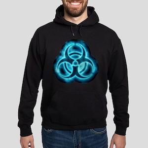 Blue-White Glow Biohazard Hoodie (dark)