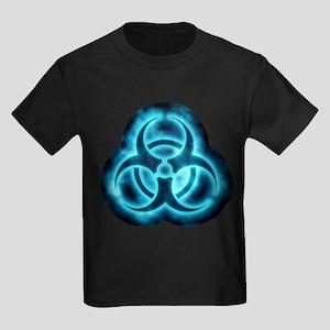 Blue-White Glow Biohazard Kids Dark T-Shirt