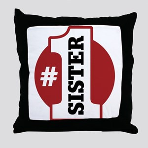 #1 Sister Throw Pillow