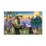 Saint Francis & Two Pugs 22x14 Wall Peel