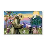 Saint Francis & Two Pugs 22x14 Wall Peel