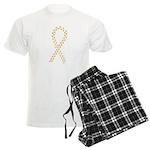 Gold paw ribbon Men's Light Pajamas