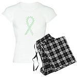Lime paw ribbon Women's Light Pajamas
