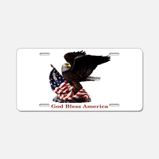 God Bless America Eagle Aluminum License Plate