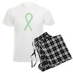 Green paw ribbon Men's Light Pajamas