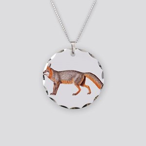 Gray Fox Animal Lover Necklace Circle Charm