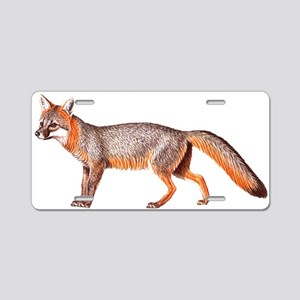 Gray Fox Animal Lover Aluminum License Plate
