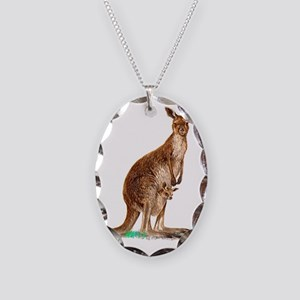 Western Gray Kangaroo Necklace Oval Charm
