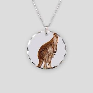 Western Gray Kangaroo Necklace Circle Charm