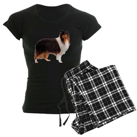 Black Rough Collie Women's Dark Pajamas