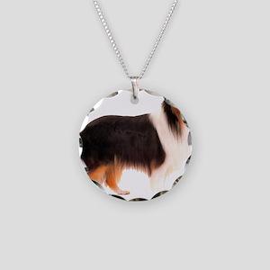 Black Rough Collie Necklace Circle Charm