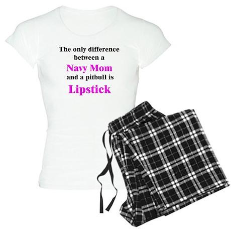 Navy Mom Pitbull Lipstick Women's Light Pajamas