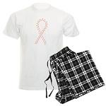 Peach paw ribbon Men's Light Pajamas
