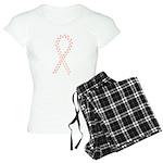 Peach paw ribbon Women's Light Pajamas