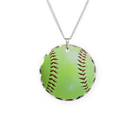 Softball Necklace Circle Charm