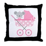 Pink Mouse Baby Announcement Throw Pillow