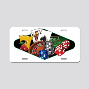 Casino Games White Aluminum License Plate