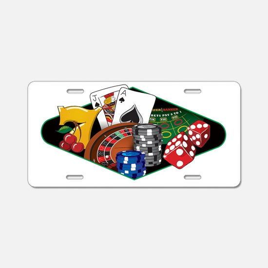 Casino Games White Aluminum License Plate