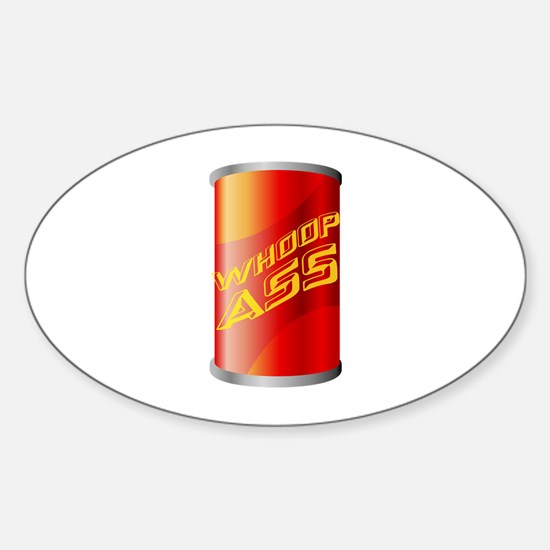 Can of Whoop Ass Sticker (Oval)