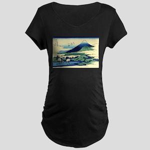 Classic Japanese Art Maternity Dark T-Shirt