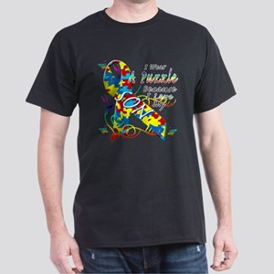 I Wear A Puzzle Because I Love My Son Dark T-Shirt