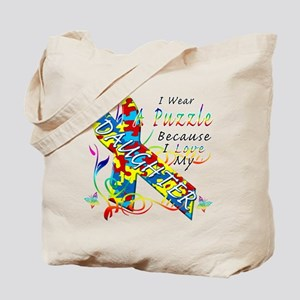 I Wear A Puzzle Because I Love My Daughter Tote Ba