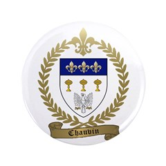 "CHAUVIN Family Crest 3.5"" Button"