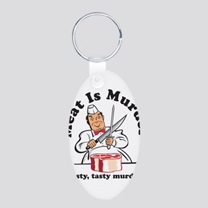 Meat Is Murder Aluminum Oval Keychain