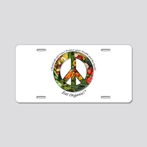 Aluminum License Plate Peace Organic Vegetables