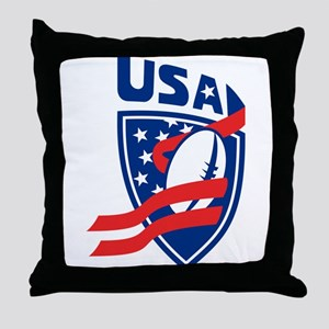 American USA Rugby Throw Pillow